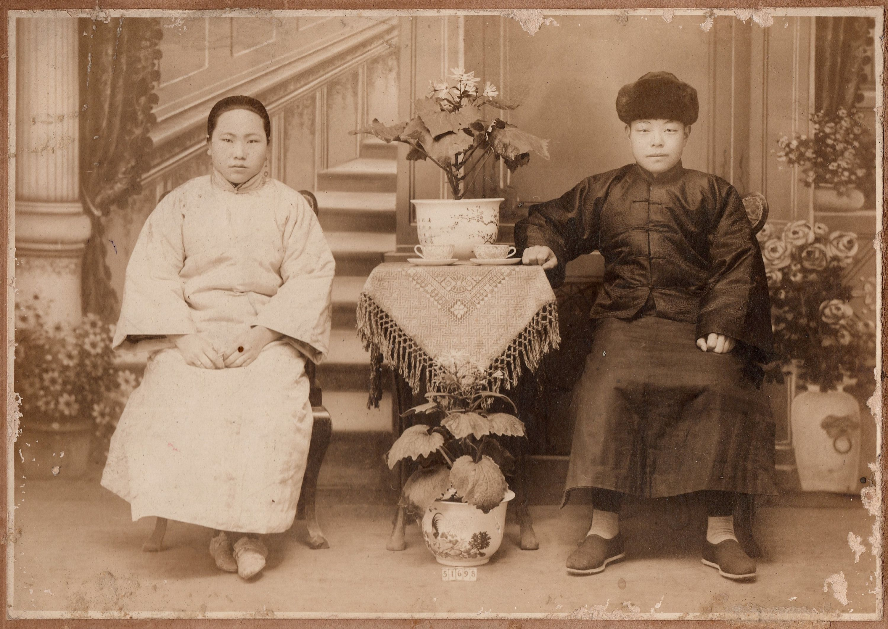 1880s Early Chinese Photo Qing Era Carte De Visite Wedding Portrait Black White Photograph China CDV Photography Antiques