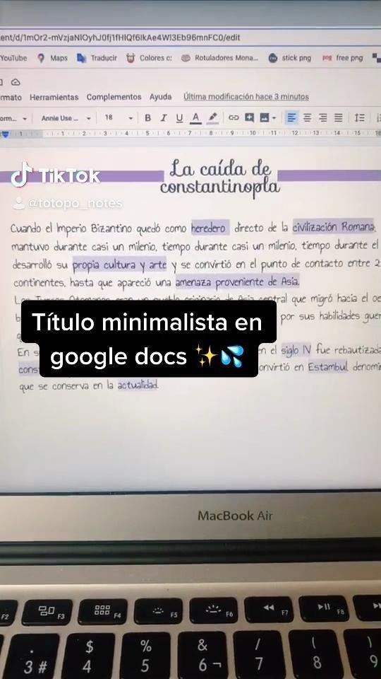 En Google docs 👺✋🏼