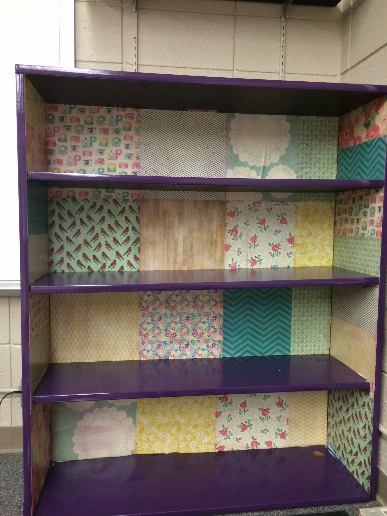 Bookshelf Using Modge Podge And Scrap Booking Paper