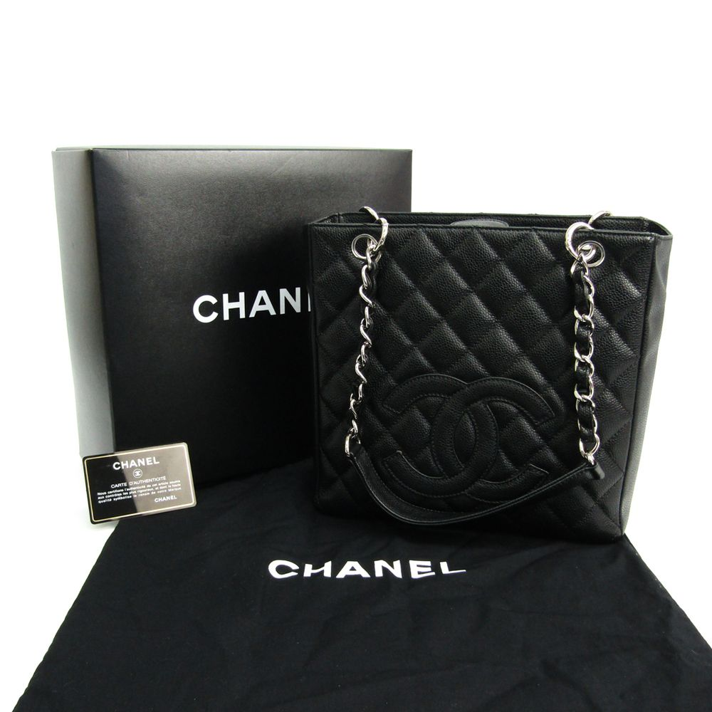 1c3ea360f959 Chanel Caviar Skin Petit Shopping Tote PST A20994 Leather Tote Bag Black # chanel