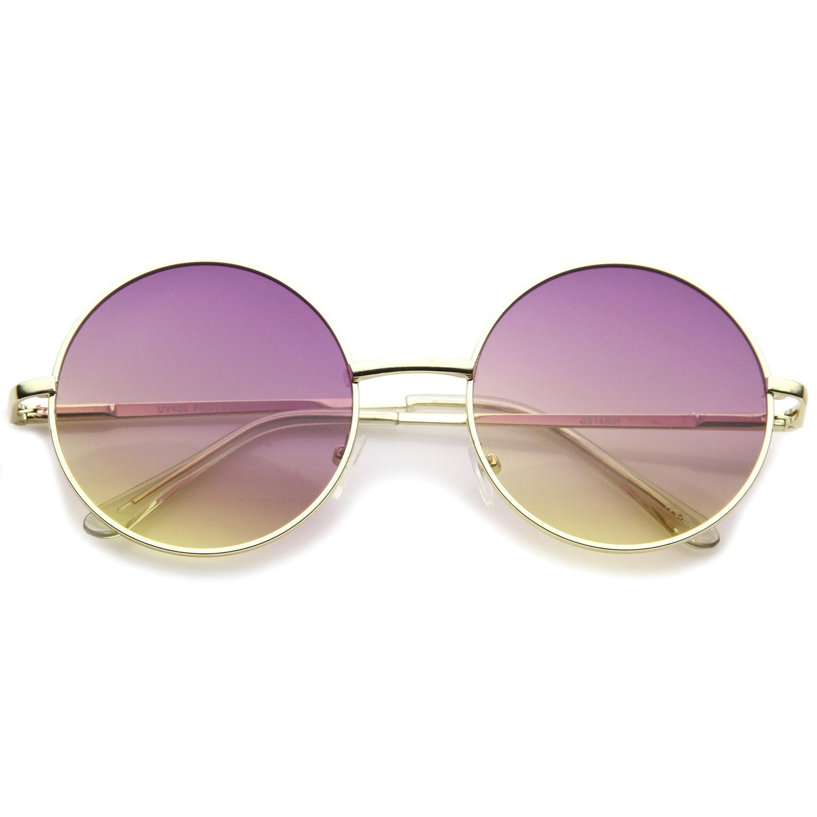 00791be22cf3 Womens Metal Round Sunglasses With UV400 Protected Gradient Lens ...