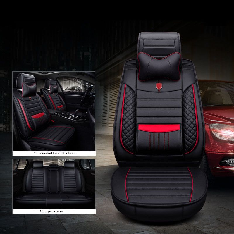 Universal Car Seat Cover Cushion Luxury Pu Leather Front Rear Set For 5 Seat Car Car Seats Custom Car Interior Diy Car Seat Cover