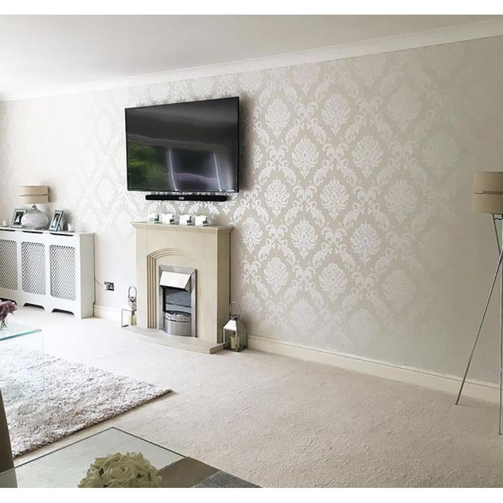 Henderson Interiors Chelsea Glitter Damask Wallpaper White