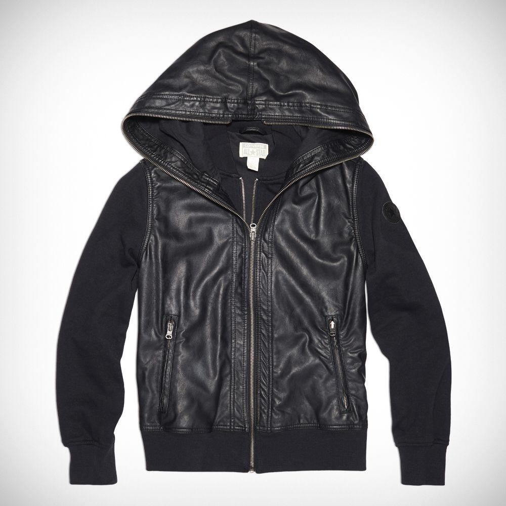 59dab1435f5d Spring Hoodie! Womens Shroud Faux Leather Hoodie Converse Black converse  black