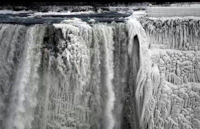 Bevroren Nigaraca watervallen.