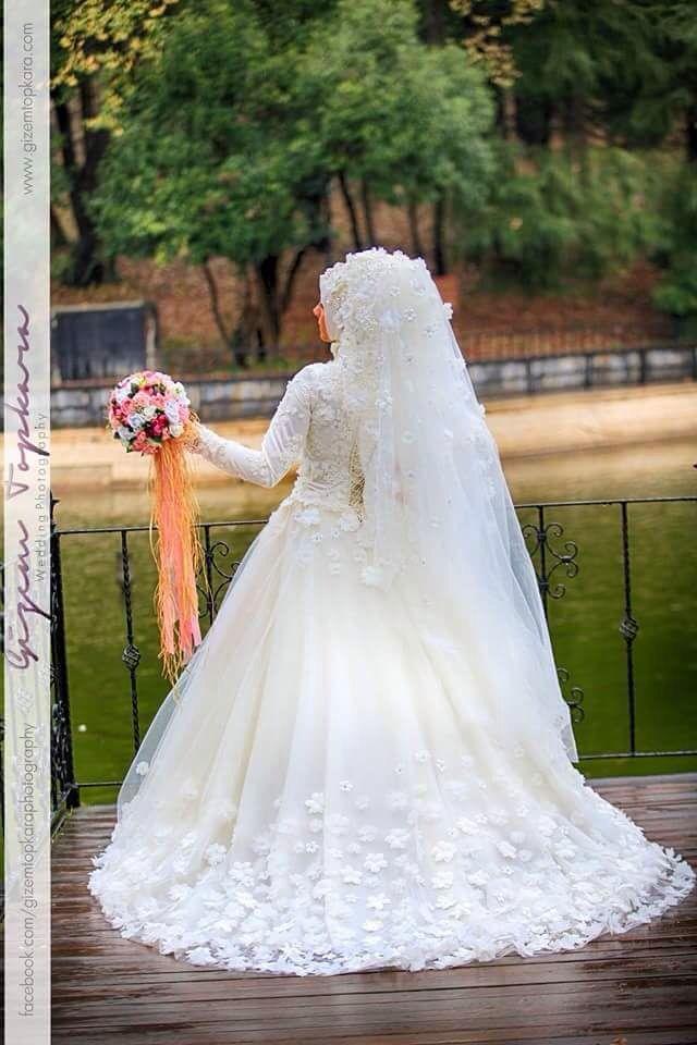 59b176e91b21d Üç boyutlu gelinlik | moda gelinlik tesettür wedding dress hijab ...
