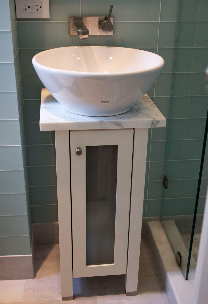 Custom Glass Front Door Vanity With Vessel Sink Small Space Bath