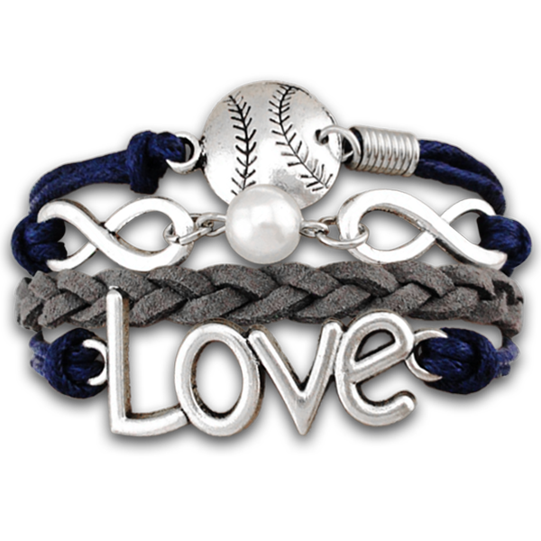 Infinity Love Pearl Baseball/Softball Bracelet #baseball #bracelet #love i want so bad ! Aunt Bess only 22.99!