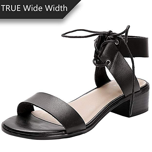 80901397cf8f Luoika Women s Wide Width Heeled Sandals - Comfortable Open Toe Ankle Strap  Flexible Pump Summer Shoes(180331,Black