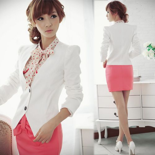 Details about New Korea Office Womens White Suit Jacket Blazer ...