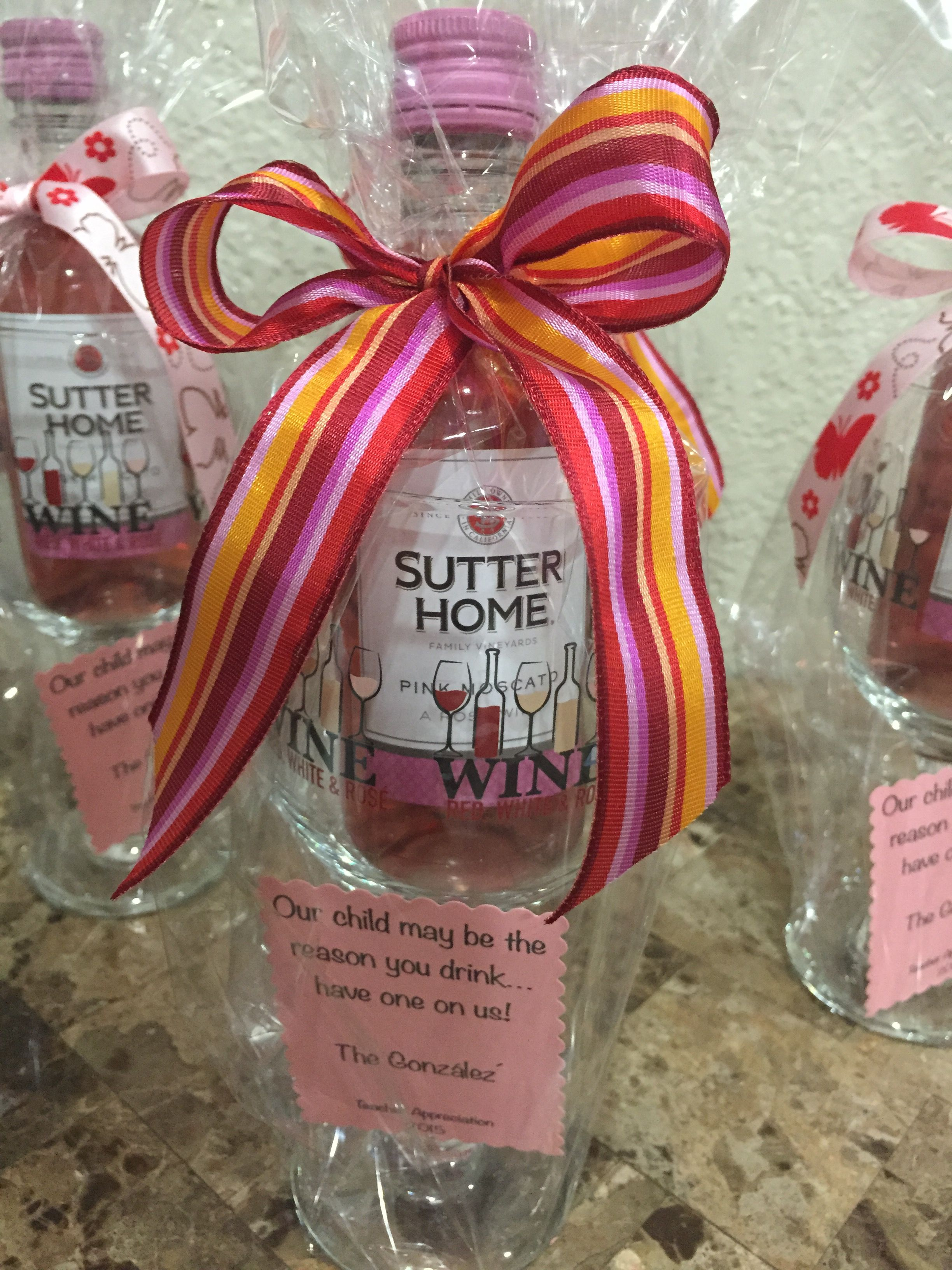 Teacher Appreciation Our Child May Be The Reason You Drink Have One On Us Mini Wine Bottle Diy Teacher Gifts Wine Teacher Gift Teacher Appreciation Gifts