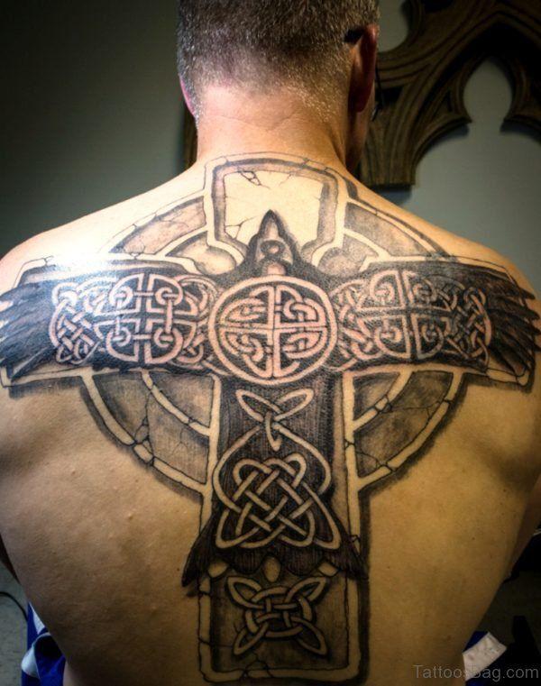 6f57f26b7 Big Celtic Cross Tattoo On Back | Back tattoo | Back tattoo, Celtic ...