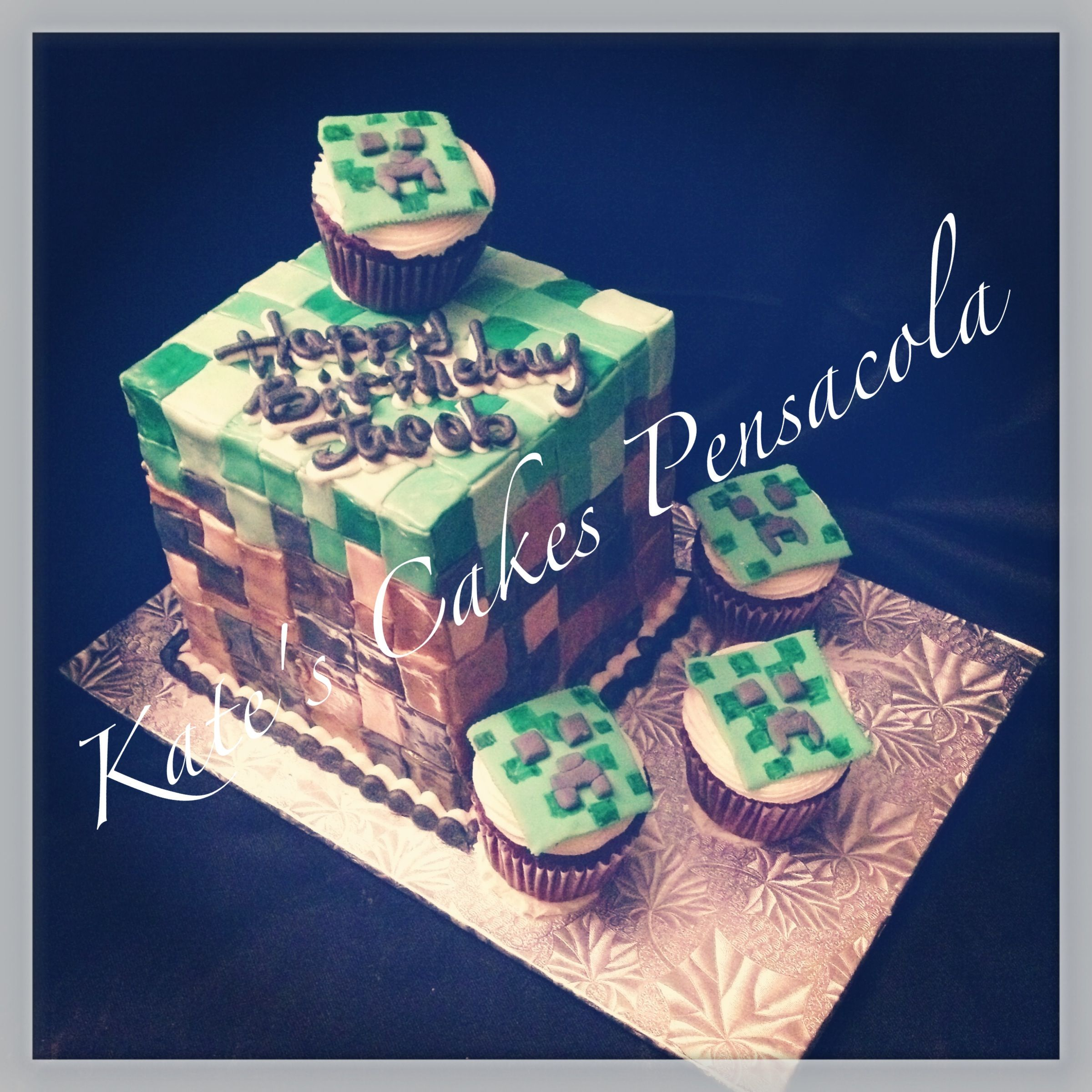 Minecraft Video Game Cake And Cupcake Kate S Cakes