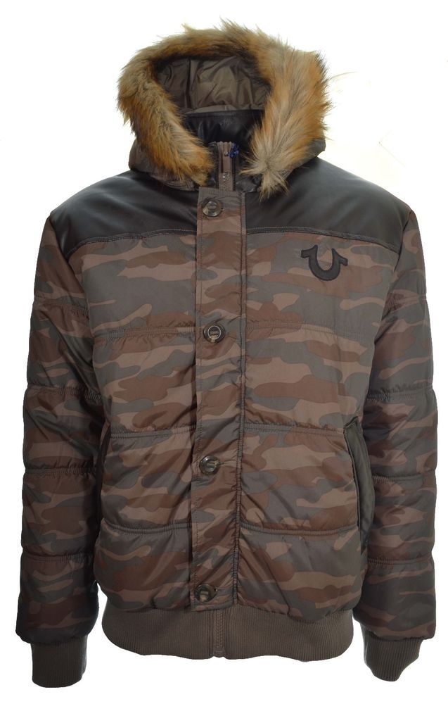 True Religion Mens Coat Size XL Camo JKT W Applique Logo Olive Camo NWT  $298 #