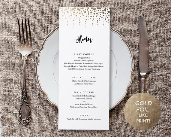 Wedding Menu Template, Printable Menu, Wedding Dinner Menu, DIY Menu Card, Faux Gold Foil Modern Cascade TEMPLETT PDF Jpeg Download #SPP20mn #weddingmenutemplate