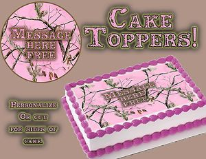 Pink Camouflage Edible cake tops strips Camo topper girl real tree