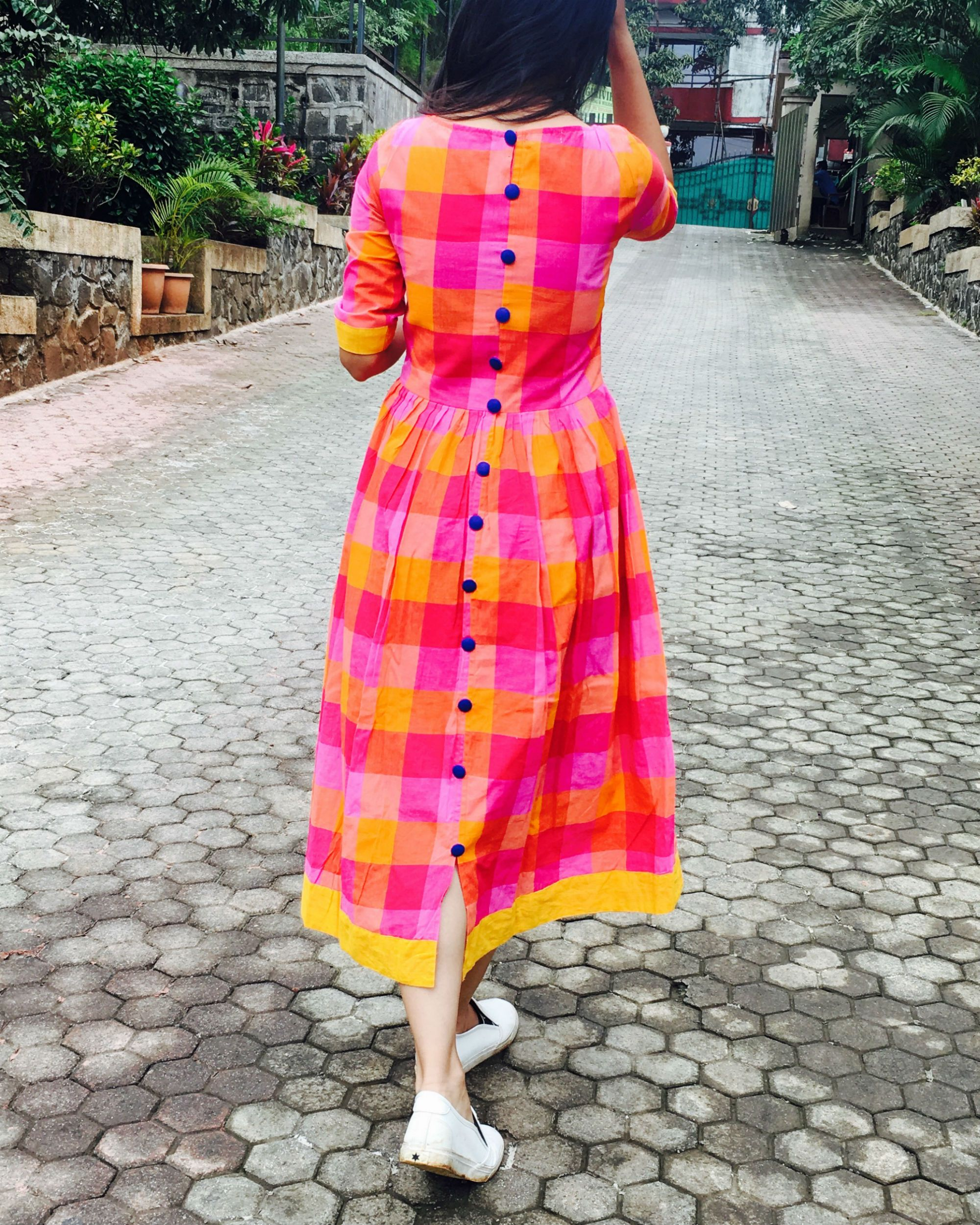 19063950f6ca6 Shop Pink and yellow checks cotton dress in 2019 | designs | Cotton ...
