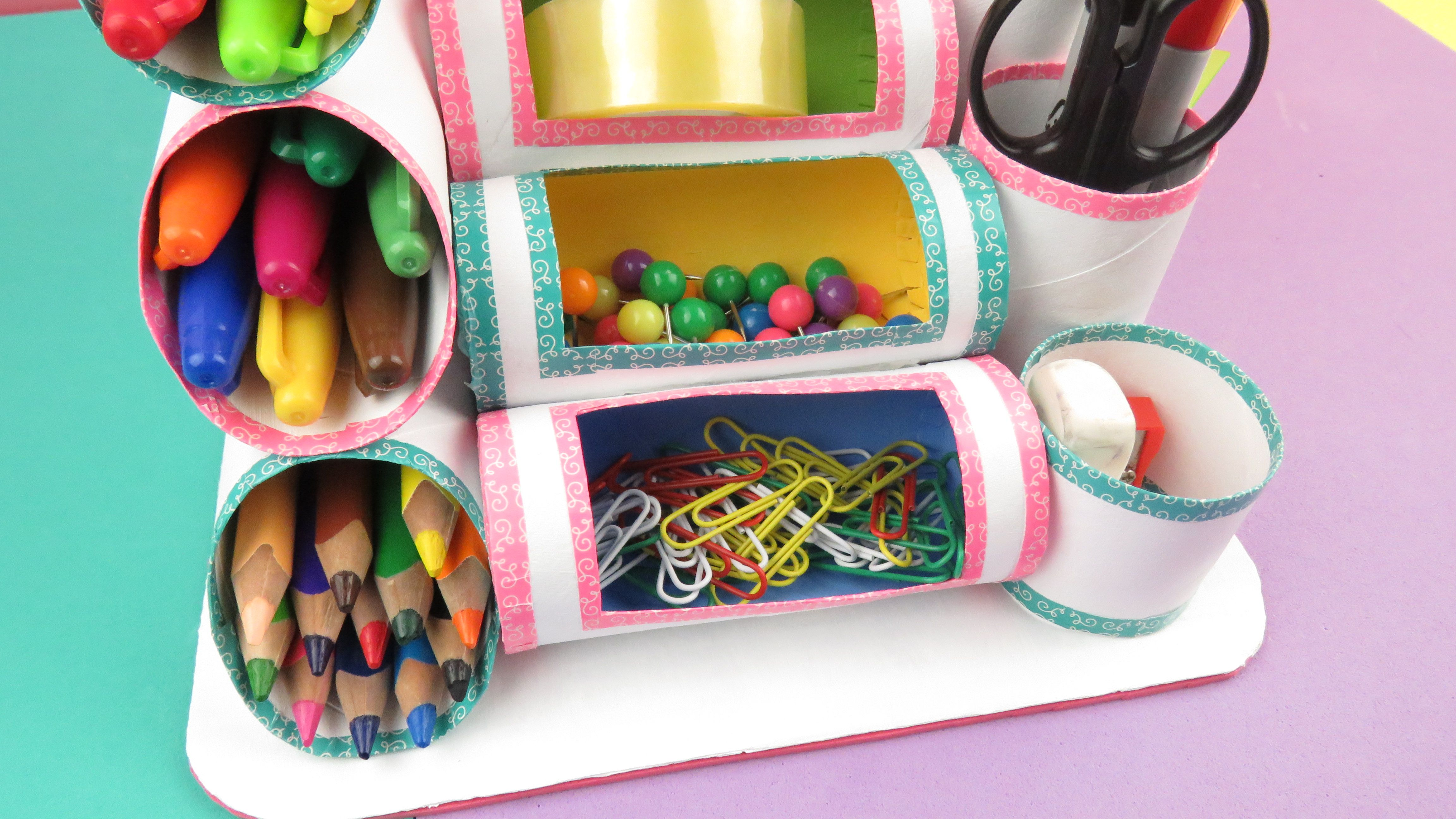 Mini organizador con rollos de papel higi nico o cocina - Manualidades en papel ...