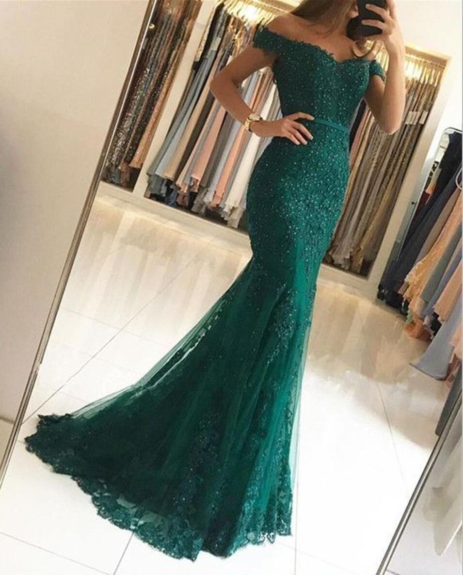 Emerald green prom dress 2018  Sexy Off Shoulder Emerald Green Lace Beaded Mermaid Long Evening