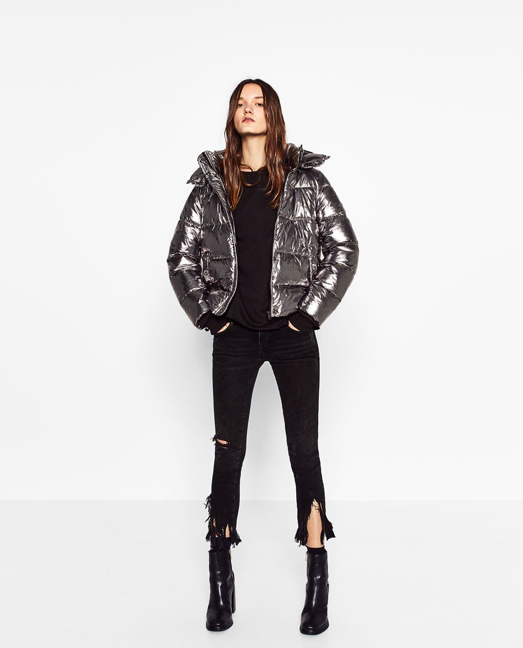 Image 1 of SHORT METALLIC JACKET from Zara