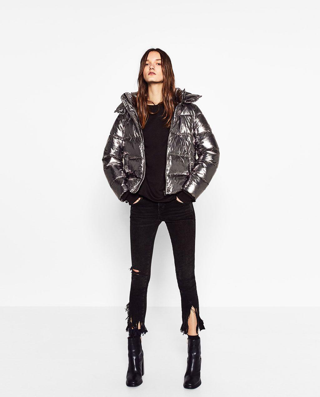 Short Metallic Jacket Puffers Outerwear Woman Zara United States Metallic Jacket Silver Jacket Outfit Puffer Jacket Outfit [ 1269 x 1024 Pixel ]