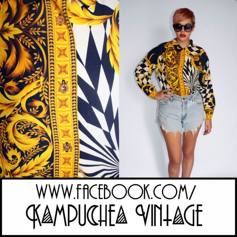Vintage Swirl Check Print Womens Shirt Blouse sz12 - 1980s Retro Kitsch FREE P | eBay £19