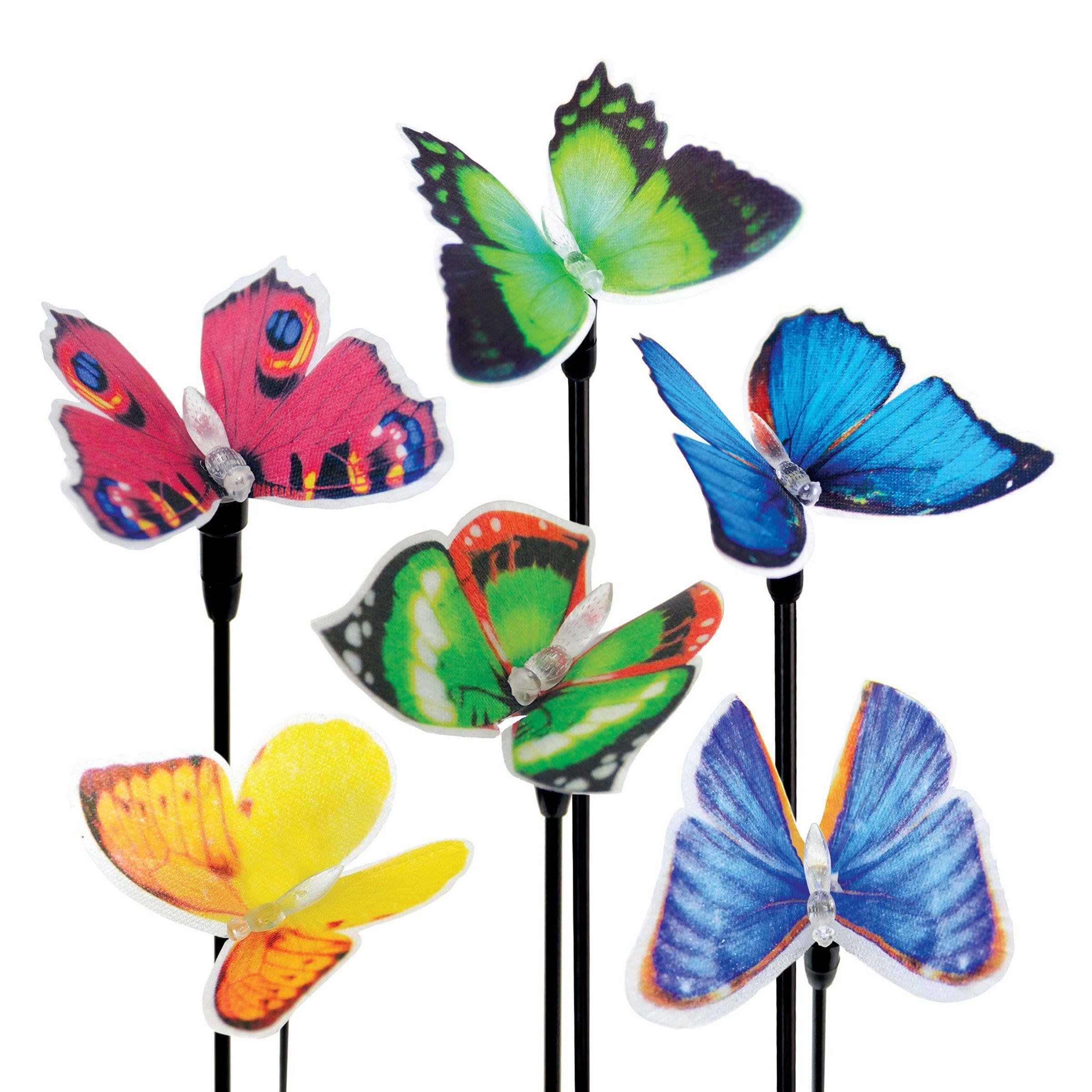 Estaca Solar De Fibra óptica De La Mariposa Jardín De Seis Pedazos Set 5 Por 26 Pulgadas Butterfly Garden Decorative Garden Stakes Solar Powered Led Lights