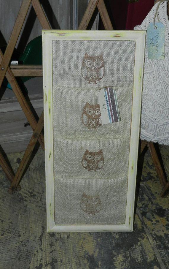 Shabby Chic Framed Burlap OWLS Mail Organizer by SquirmysMommy ...