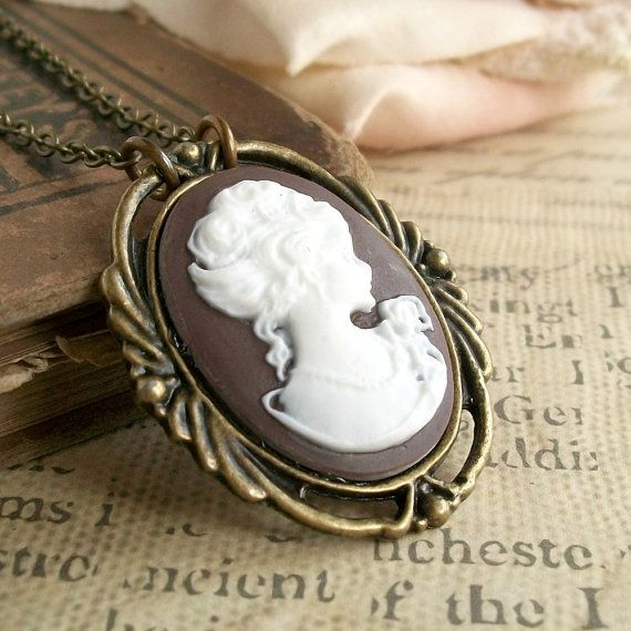 Brown cameo necklace victorian lady classic silhouette cameo pendant brown cameo necklace victorian lady classic silhouette cameo pendant vintage style womens jewelry antique gold brass aloadofball Choice Image