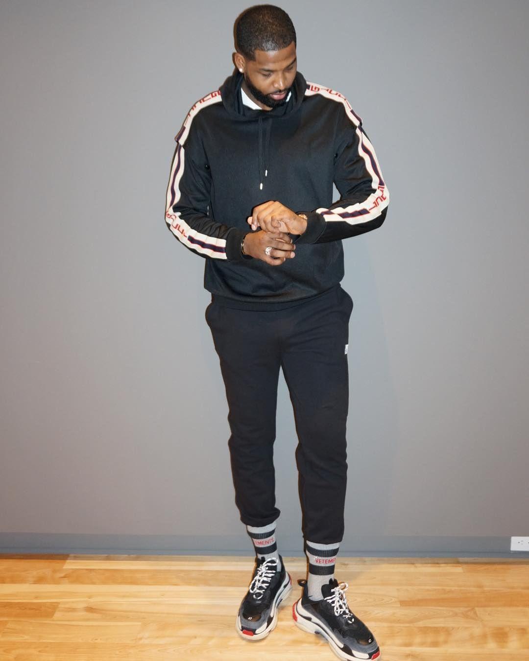 24992a0deb3d56 Tristan Thompson wears a Gucci Jacket