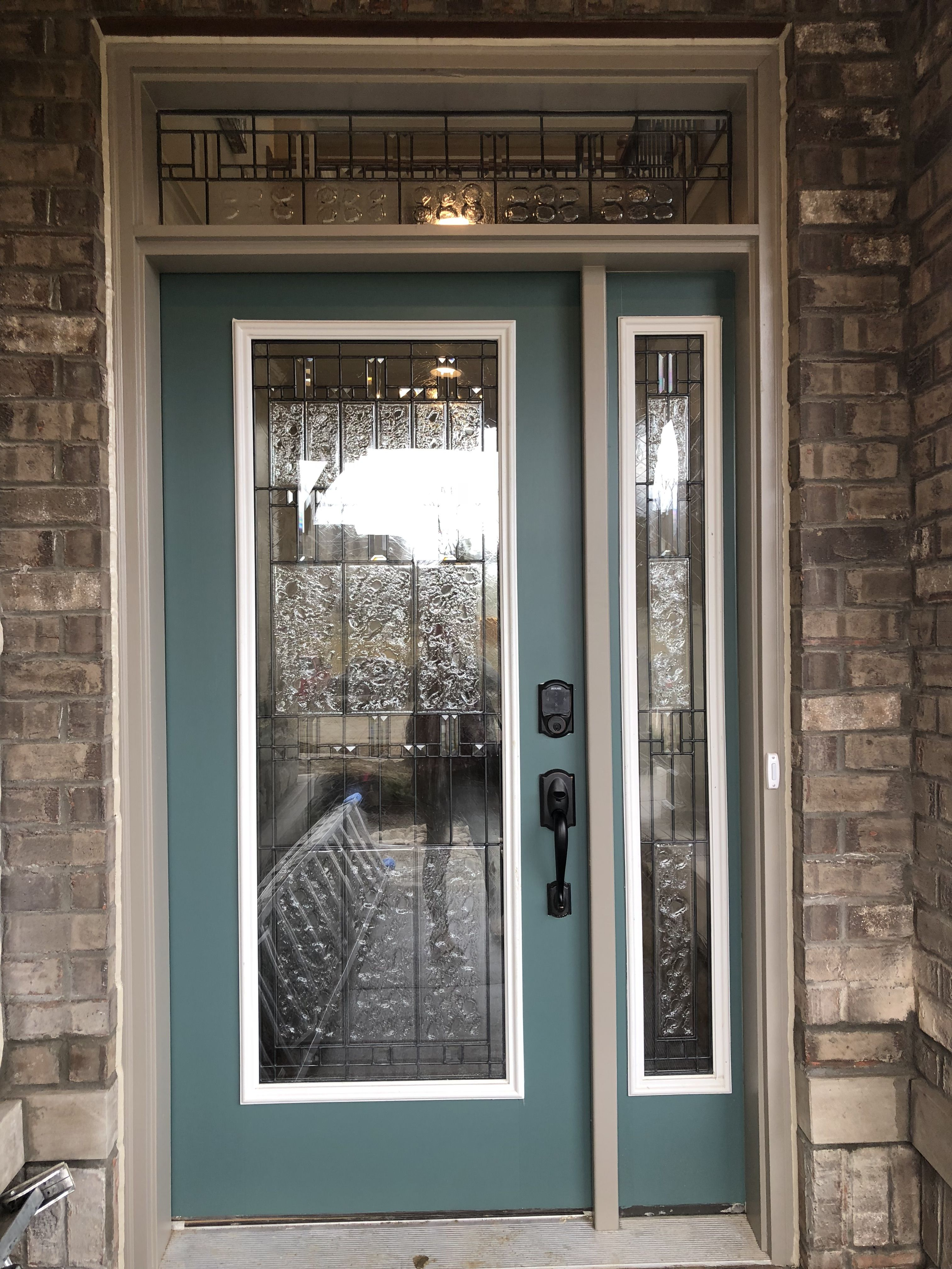 Sedona Full Glass Front Door With Matching Side Lite And Transom