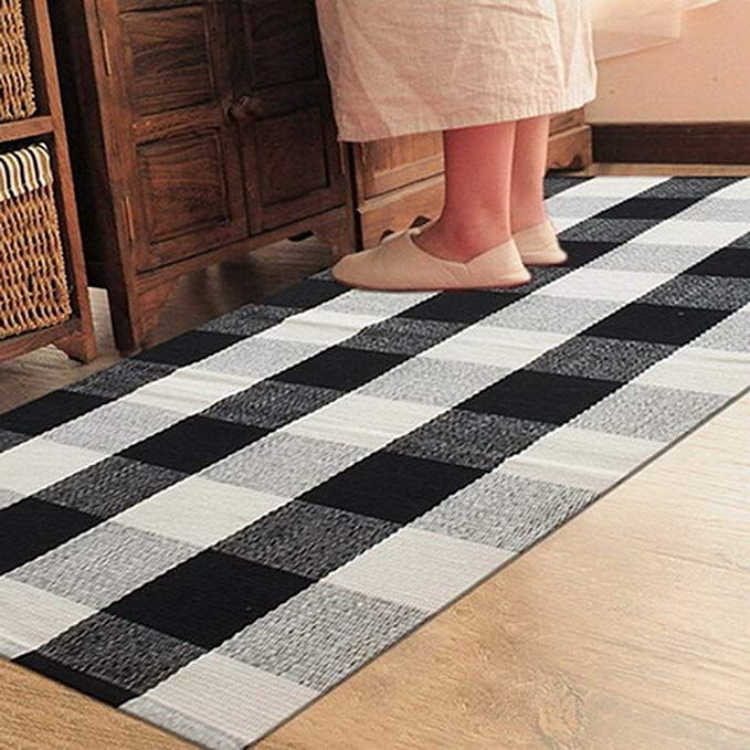 Com Ukeler 100 Cotton Plaid Rugs Black White Hand