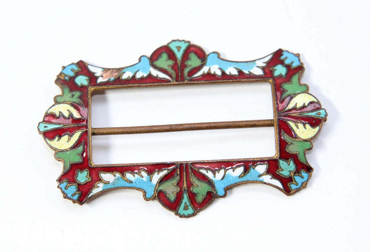 Antique Art Nouveau Enamelled Shoe Belt Buckle (c1900s) by GillardAndMay on Etsy