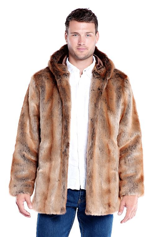2db3edbc7839 Men's Coyote Hooded Faux Fur Jacket - 1   faux fur   Fur jacket mens ...