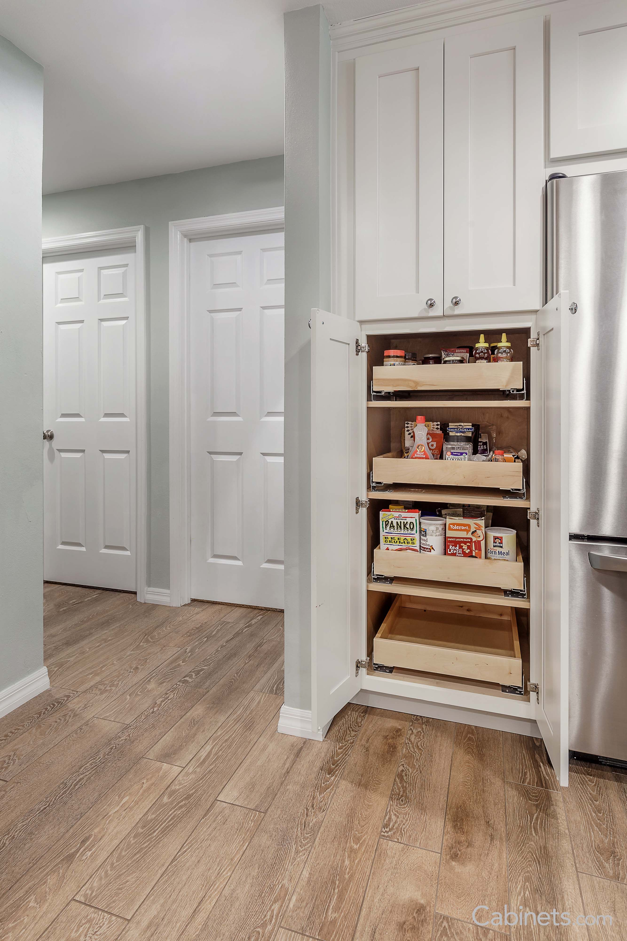 Pantry Featuring Our Shaker Maple Bright White Cabinets White Shaker Kitchen Shaker Kitchen Kitchen