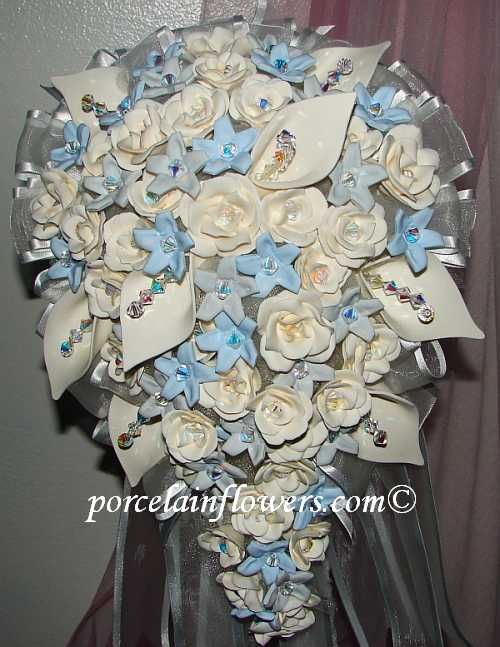 Blue Wedding Bouquets | ivory gray light blue flowers | Projects ...