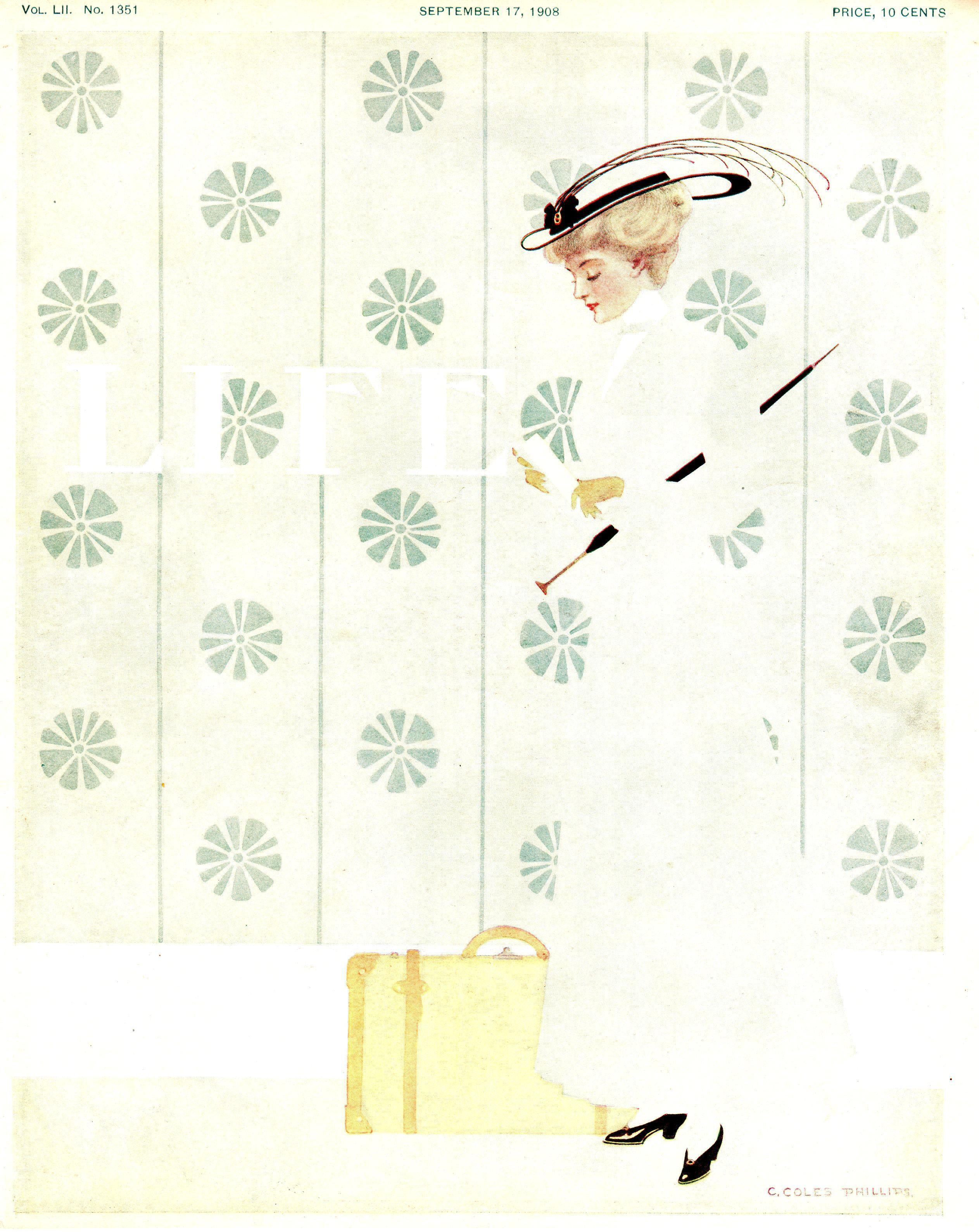Coles Phillips Life Magazine Cover September 17 1908 Fadeaway Girl Illustration Vintage Illustration Illustrators
