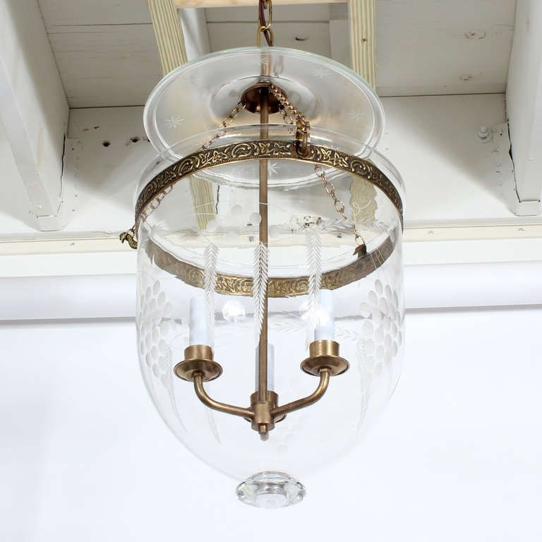 Etchted Glass Pendant Lights Etched Glass Bell Jar Hurricane