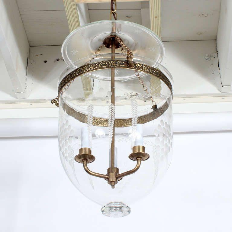 Etchted Gl Pendant Lights Etched Bell Jar