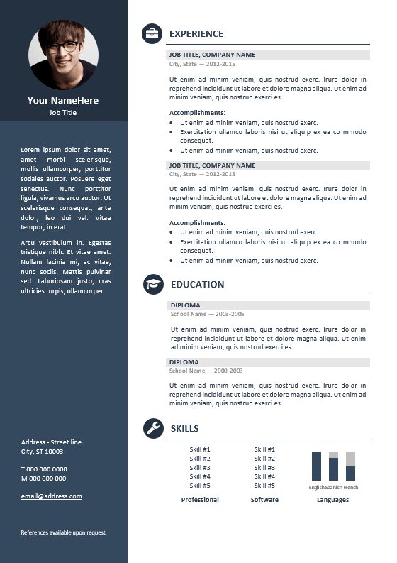 orienta free professional resume cv template blue resume cv templates pinterest. Black Bedroom Furniture Sets. Home Design Ideas