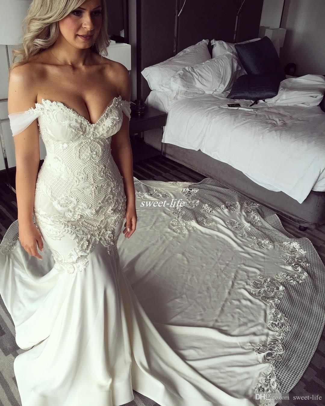 6624514203a New Design Off Shoulder Mermaid Wedding Dresses Pearls Backless 2017 Trumpet  Chapel Train Lace Bridal Wedding Gowns Vintage Plus Size Custom. with tulle  ...