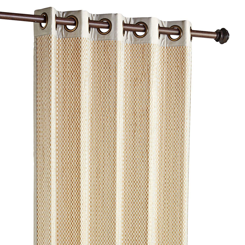 Grey 96 Bamboo Window Curtain Metallic Gray
