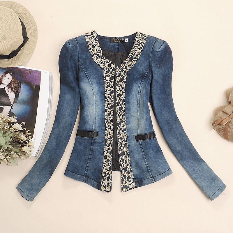 fc5780ddec2 Free shipping 2013 women s ol collar diamond slim embroidered denim short  jacket fashion new arrival jeans