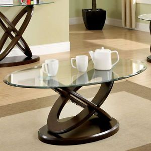 Atwood Dark Walnut Finish Oval Glass Top Coffee Table Zhurnalnye