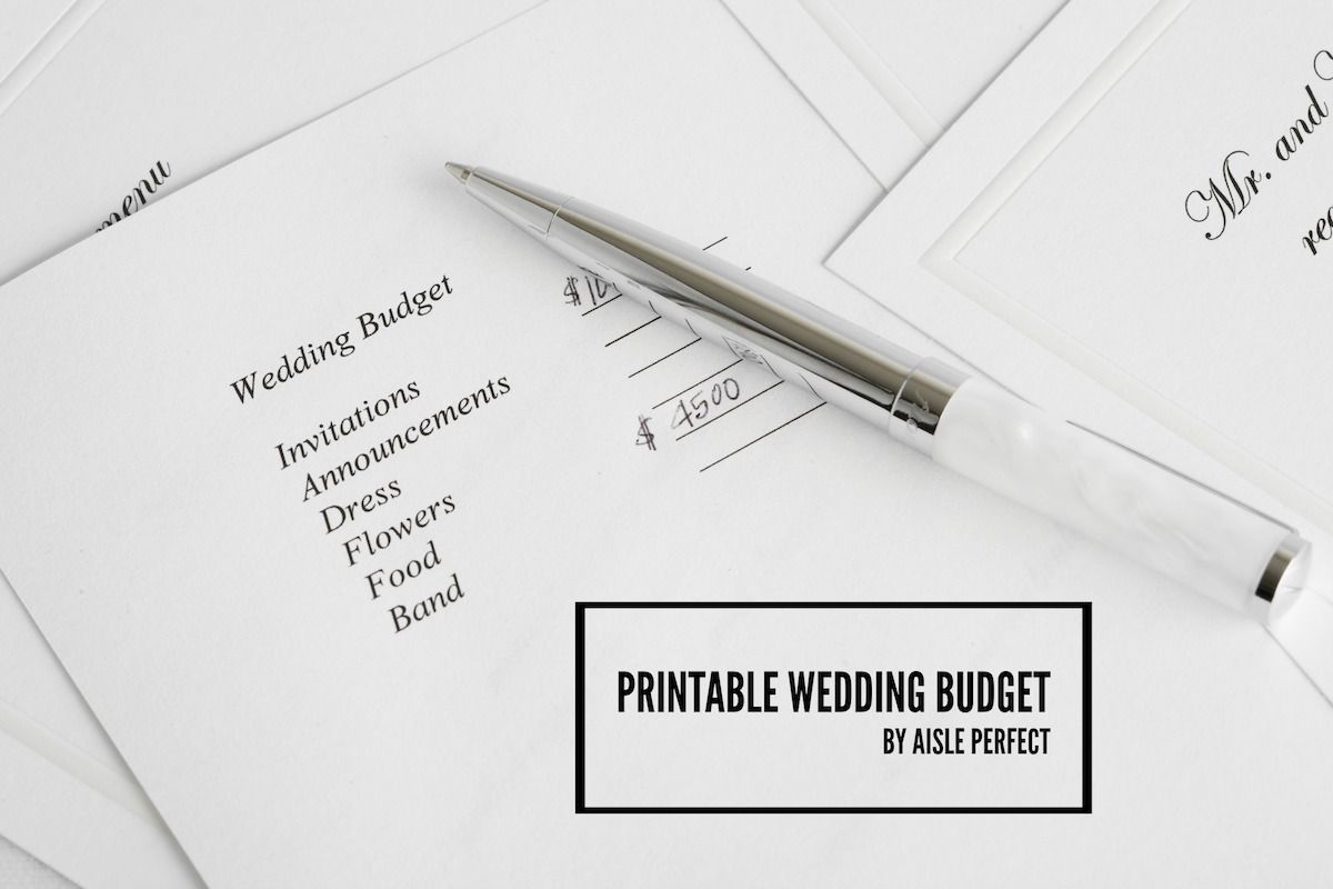 Printable Wedding Budget Worksheet