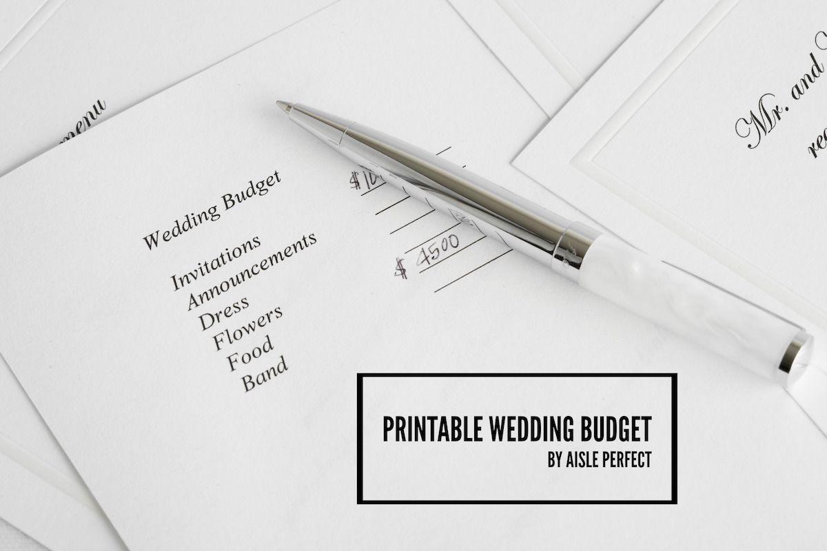 Printable Wedding Budget Worksheet