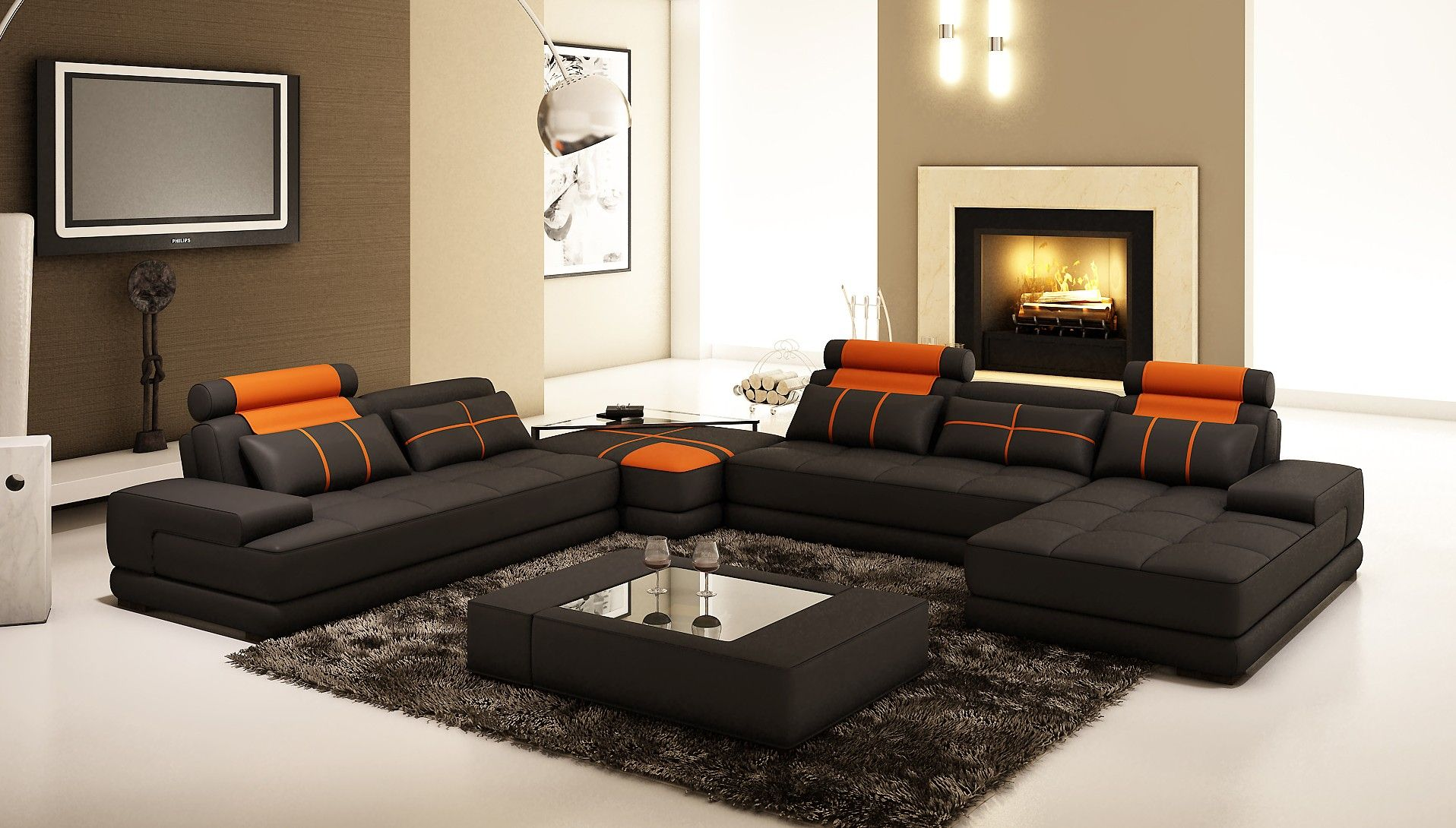 living room black orange leather sofa with cushions plus black