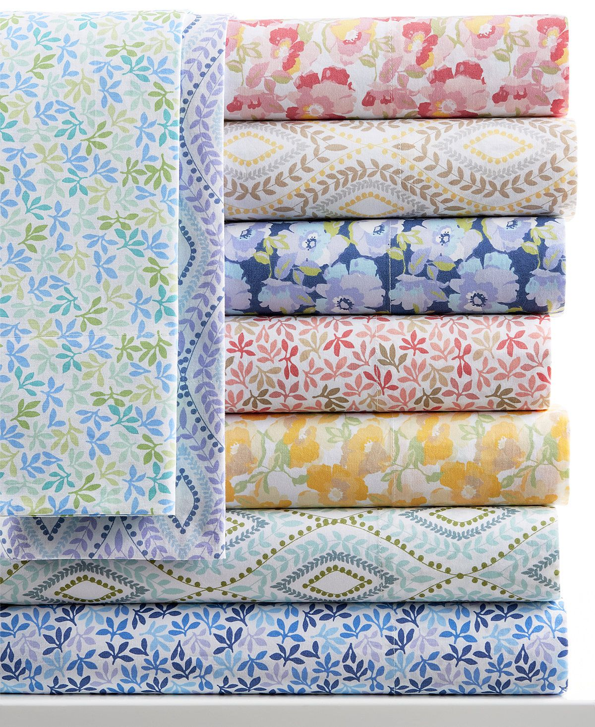 Closeout Martha Stewart Collection Printed Sheet Sets 300 Thread