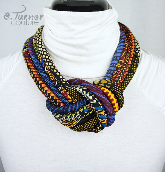 Knotted African Ankara  necklace https://www.etsy.com/listing/214979695/multicolored-african-fabric-knot-rope