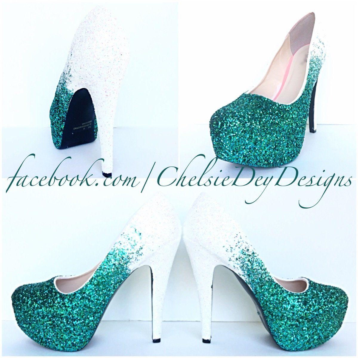 9de610f4f7 Aqua Ombre Glitter High Heels, White Mint Green Wedding Shoes, Sparkly  Seafoam Pumps